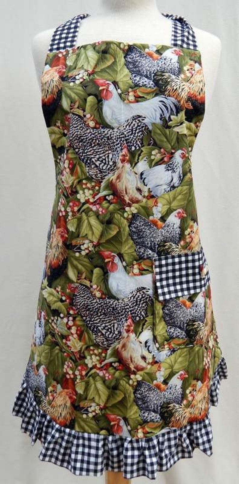 Reversible Bib Style Apron with Roosters Full Length Adult or image 0