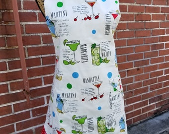 Reversible Ecru Cocktail Full Length Apron with Matching Fabric on the Reverse Side (Adult Bib and Adult Plus Sizes, Child, Baby & Doll)