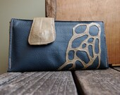 organic lace olive on steely blue repurposed leather wallet