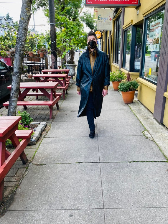1980's Leather Trench Coat, Savage Trench Coat - image 4