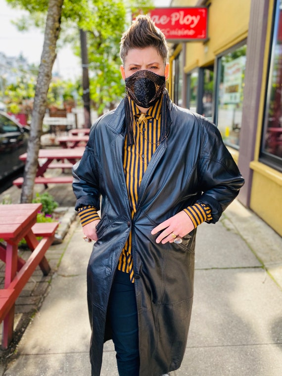 1980's Leather Trench Coat, Savage Trench Coat - image 2