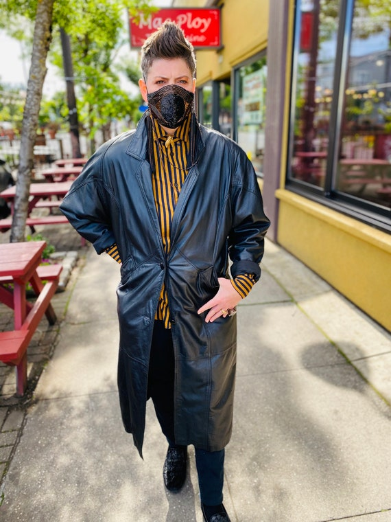 1980's Leather Trench Coat, Savage Trench Coat - image 3