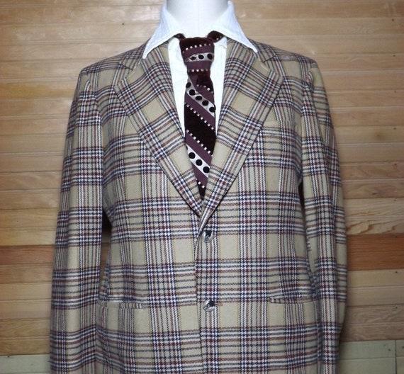 Plaid Wool Blazer, 1970's Plaid Blazer, Men's Plai