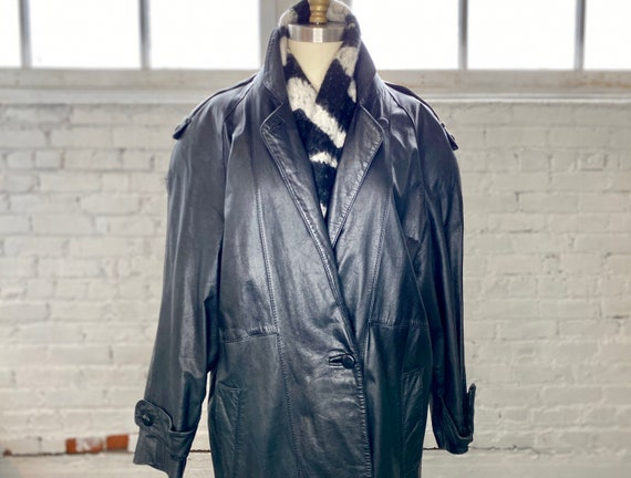 1980's Leather Trench Coat