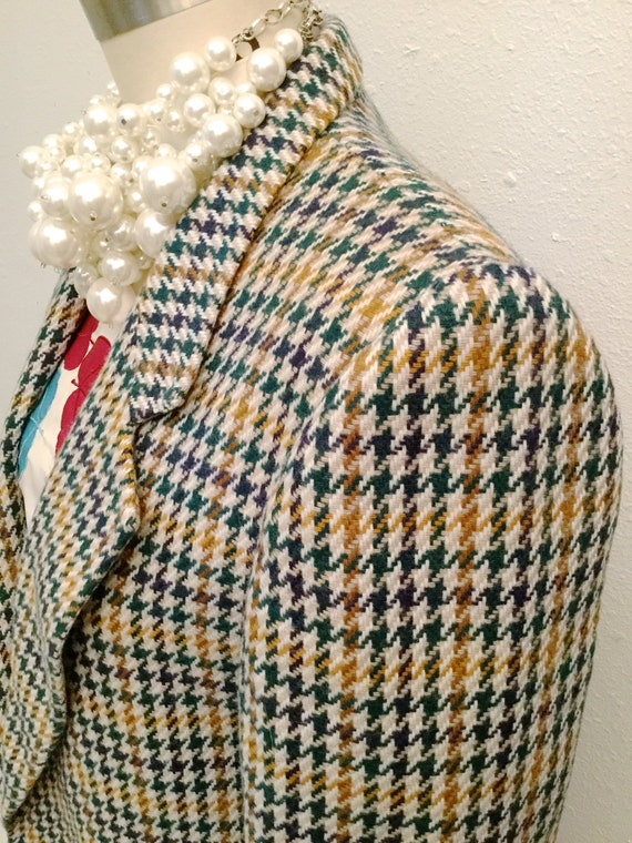 Hounds Tooth Wool Blazer and Skirt, 1970's Wool Bl