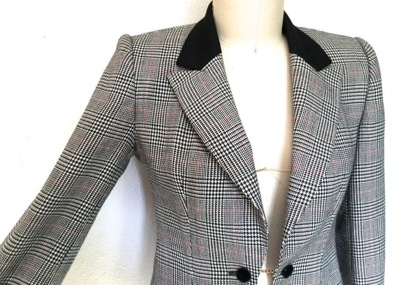 Gloria Vanderbilt Wool Blazer, 1980's Hounds Tooth