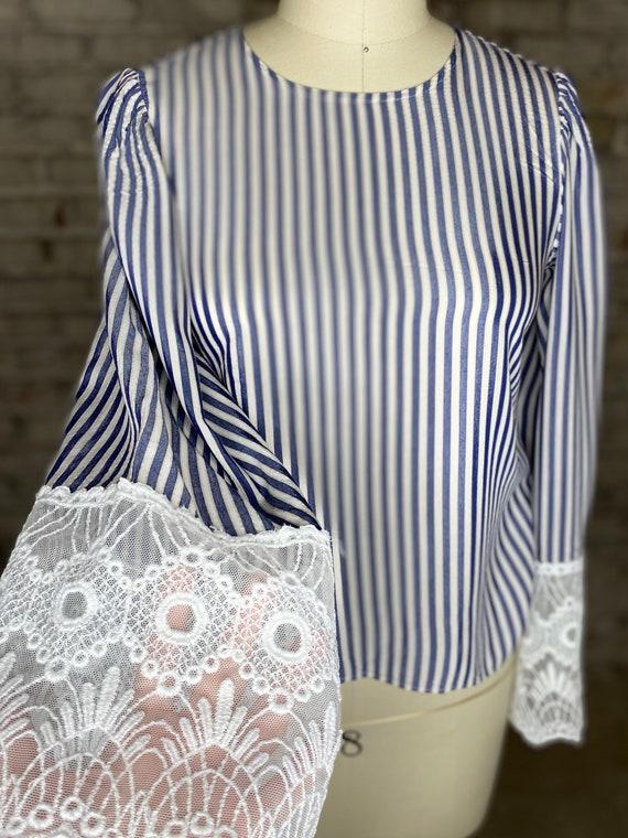 Striped Lace Blouse - image 6