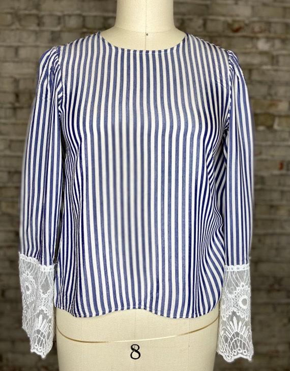 Striped Lace Blouse - image 5
