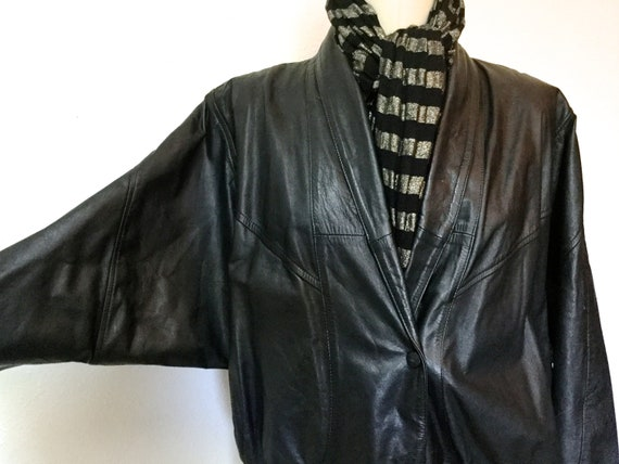 1980's Leather Jacket, Bat Wing Jacket