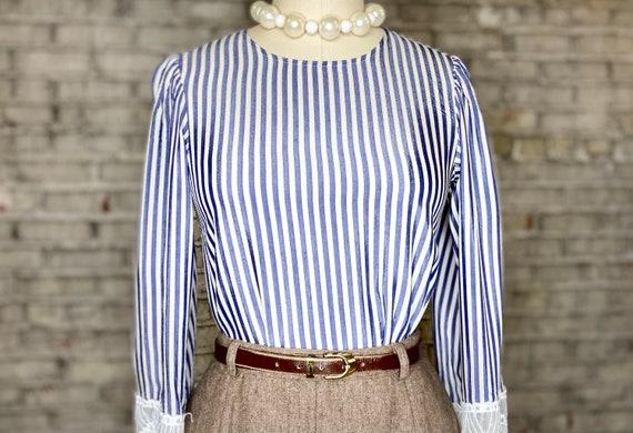 Striped Lace Blouse - image 1