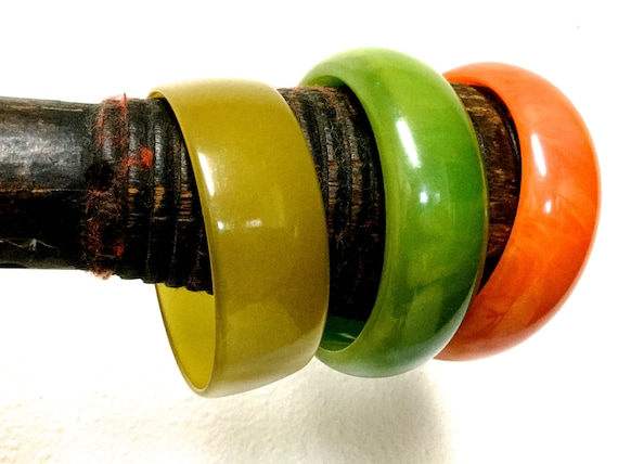 Green Marbled Bakelite Bracelet, Orange Marbled Ba