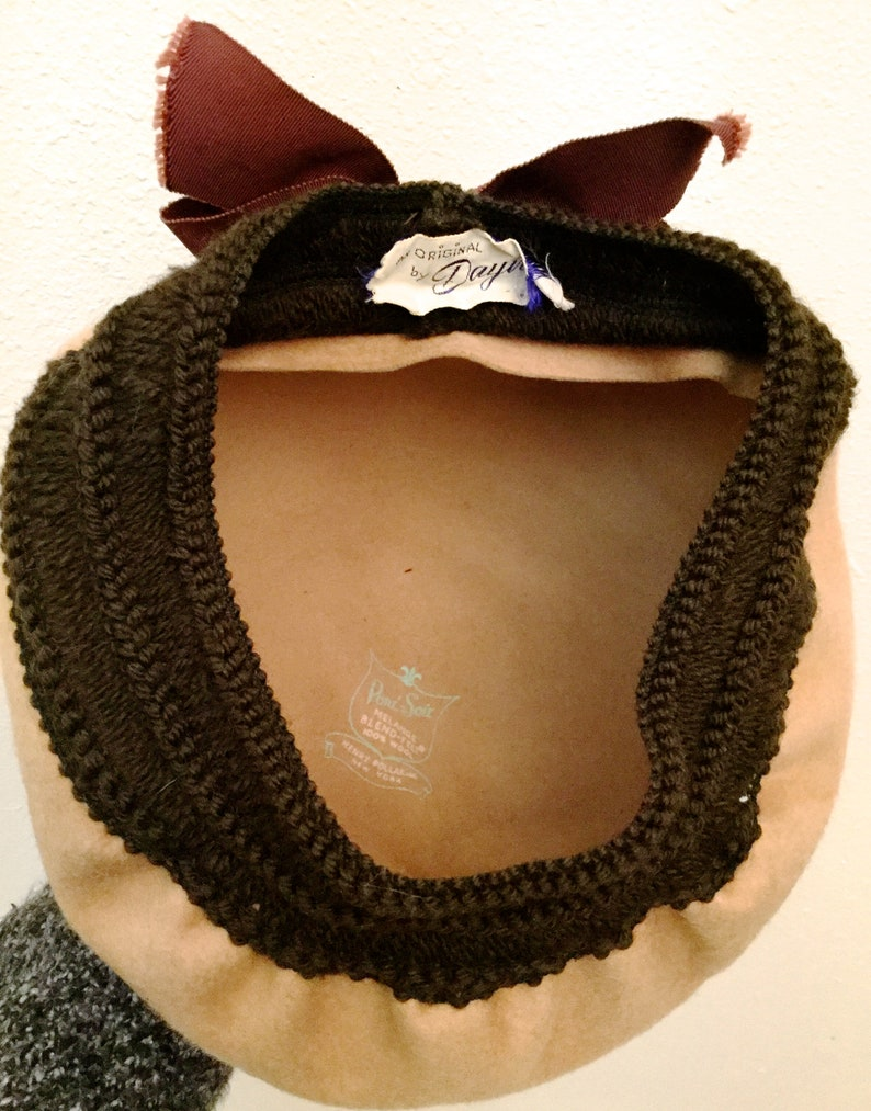 1950/'s Wool Beret with Bow 1950/'s Wool Hat