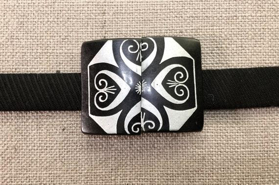 Art Deco Belt Buckle, 1940's Hand Painted Belt Bu… - image 4