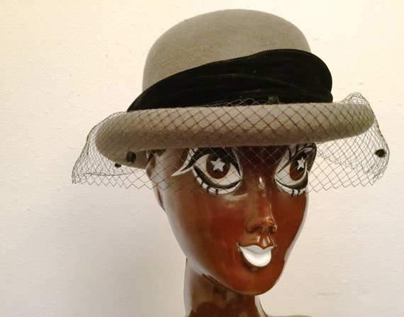 Saks Fifth Avenue Hat, 1980's Wool Bowler Hat