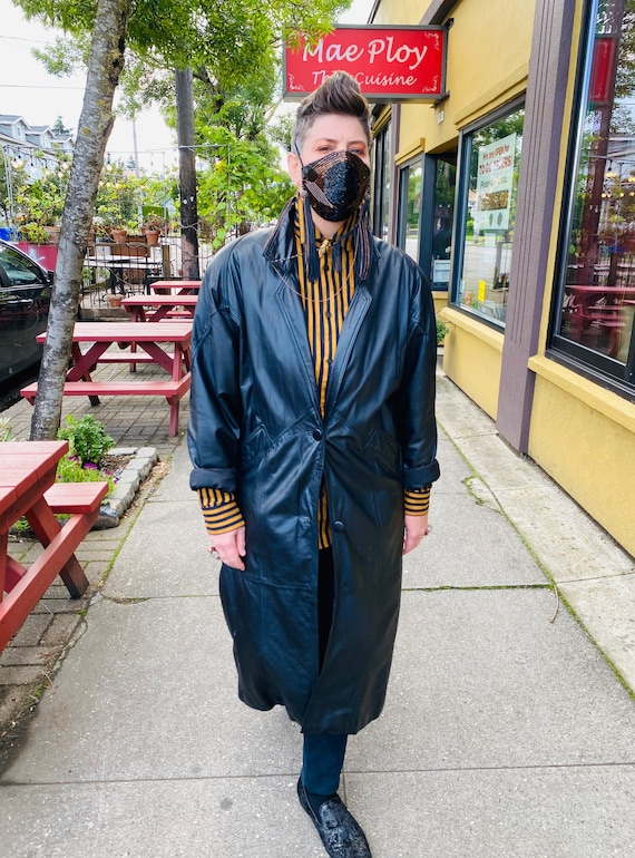 1980's Leather Trench Coat, Savage Trench Coat - image 5