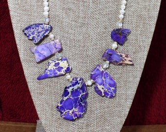 Impression Jasper and Amethyst Necklace with matching set of earrings