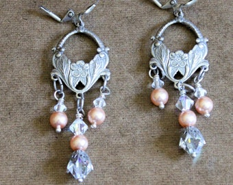 Silvered Flower and Swarovski Crystals and Beads Earrings