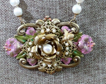 Dreamweaver * Golden Pearls and Pink Petals necklace with earrings