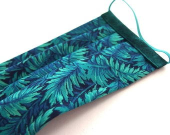 Small Adult Pleated Face Mask, Teal Tropical Foliage Printed Cotton with Nose Wire and Liner Slit
