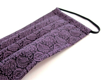 Medium Adult Pleated Face Mask, Purple Floral Printed Cotton with Nose Wire and Liner Slit