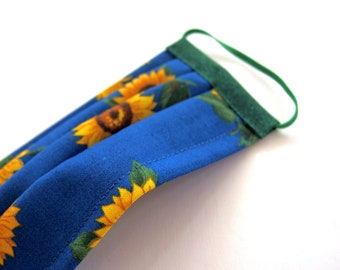 XS Adult Pleated Face Mask, Sunflowers on Royal Blue with Nose Wire and Liner Slit