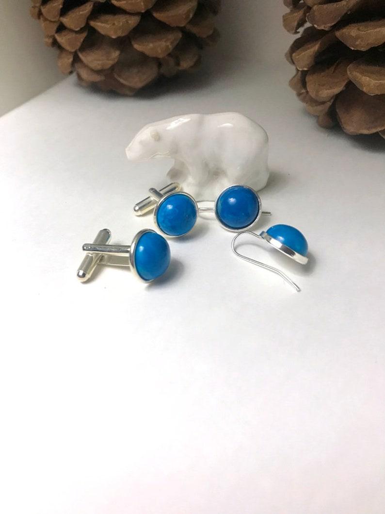 Blue Howlite Earrings /& Cufflink Set