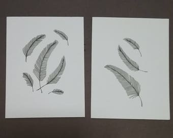Cards,feathers in pen and Ink original drawings. Greeting, note, blank, bird,garden,black and white.