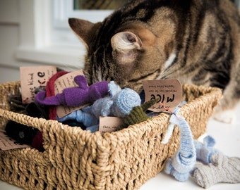 Mini catnip fuzzy mice toys-- 3 pack combo deal, filled with organic catnip , made from wool sweater scraps, unique cat toy,