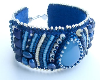 Blue and Pale Yellow Striped Bead Embroidery Cuff Bracelet With Blue Chalcedony Teardrop Cabochon