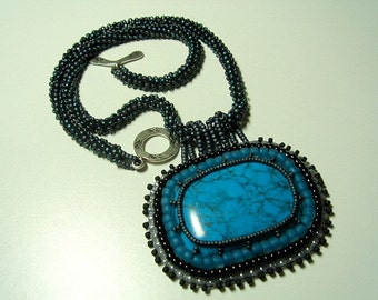 Turquoise Captured with Beadweaving