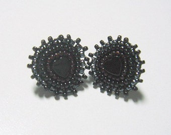 Your Black Heart - Valentine's Bead Embroidered Earrings