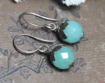 Aventurine Earrings Green Gemstone Earrings Antiqued Brass Luxe Rustic Jewelry