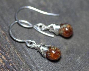 Hessonite Garnet Earrings Sterling Silver Wire Wrapped Earrings Burnt Orange Earrings Rustic Jewelry