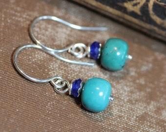 Turquoise Earrings Sterling Silver Gemstone Earrings Blue Earrings Luxe Rustic Southwestern Jewelry