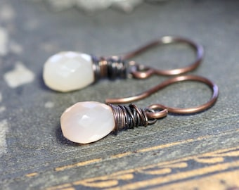 Peach Moonstone Earrings Pink Gemstone Earrings Antiqued Copper Wire Wrapped Briolettes Rustic Jewelry