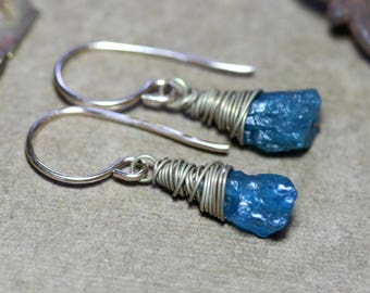 Apatite Earrings Rough Nugget Turquoise Blue Gemstone Gold Earrings Rustic Jewelry