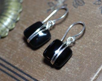 Black Onyx Earrings Silver Wire Wrapped Black Gemstone Earrings