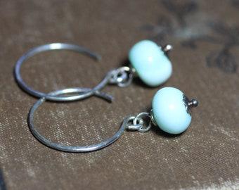 Blue Opal Earrings Blue Gemstone Silver Earrings Rustic Jewelry Silver Hoop Earrings