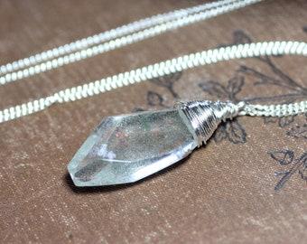 Phantom Quartz Pendant Lodolite Silver Necklace Garden Quartz