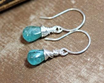 Apatite Earrings Aqua Blue Gemstone Earrings Sterling Silver Wire Wrapped Briolette Earrings Rustic Jewelry