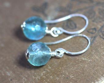 Fluorite Earrings Aqua Blue Rainbow Fluorite Faceted Bead Sterling Silver Earrings