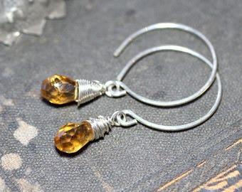 Faceted Citrine Briolette Earrings Gemstone Hoop Earrings Sterling Silver Wire Wrapped