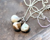Peruvian Opal Necklace Sterling Silver Gemstone Necklace Rustic Natural Stone Triple Pendant