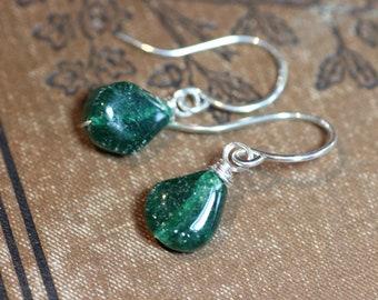 Emerald Green Aventurine Earrings Sterling Silver Rustic Jewelry Green Gemstone Earrings