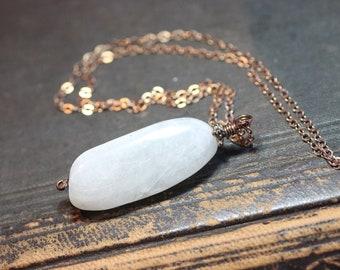 Moonstone Necklace White Gemstone Nugget Pendant Bronze Chain