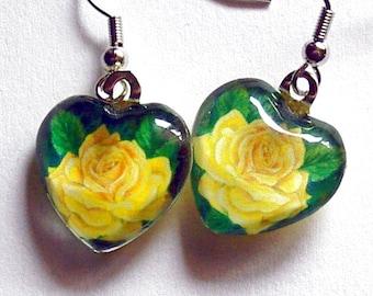 Yellow Rose Jewelry Earrings Yellow Heart Shape Valentine Art Glass Friendship Rose