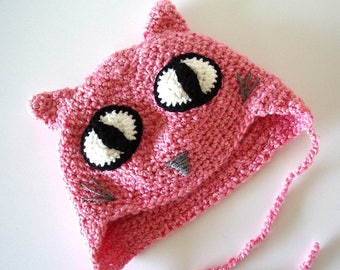 Crochet Pink Cat Hat Large Eyes Child Young Teen size Halloween Cat Hat Costume