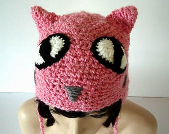 eb8a821f432 Crochet Pink Cat Hat Large Eyes Child Young Teen size Halloween Cat Hat  Costume