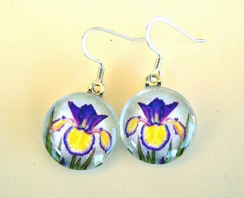 Iris Earrings Yellow and Blue Violet Spuria Iris Jewelry Round Art Glass Earrings