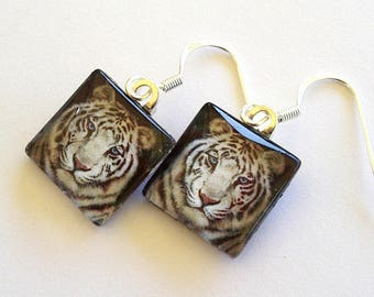 White Tiger Jewelry Drop Earrings Square Art Glass School Mascot team Animal